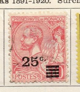 Monaco 1922 Early Issue Fine Used 25c. Surcharged 122852