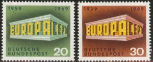 Germany Scott 996-997 Mint No Gum MNG 1969 Europa stamp set