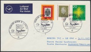 GERMANY 1971 Lufthansa first flight cover to Bangkok Thailand...............H293