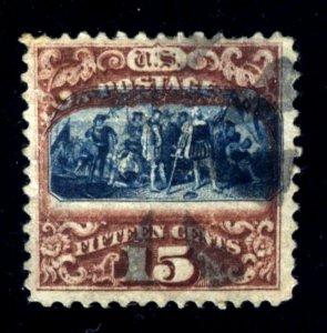#119 15c Columbus 1869.....used - VF w/VIGNETTE SHIFT - SCARCE!