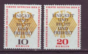 J17554 JLstamps 1957 germany berlin occup,t set mh #9n158-9 unity and justice