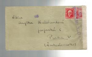 1930s Laguanta Spain Civil War Censor Cover to Czechoslovakia Brigada Mixta 72