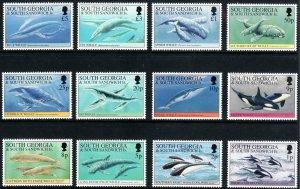1994 South Georgia Whales & Dolphins complete set MNH Sc# 178 / 189 CV $63.05