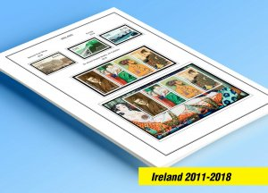 COLOR PRINTED IRELAND 2011-2018 STAMP ALBUM PAGES (46 illustrated pages)