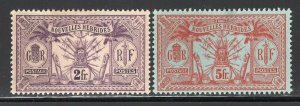 New Hebrides(French) 1912 High Values 2Fr + 5Fr Mint #31-32