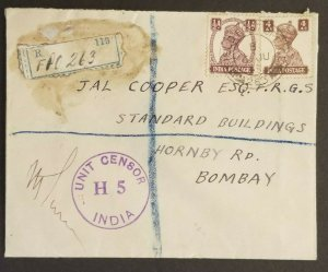 1943 Bombay India British 2nd Infantry Field Post Registered Censorship Cover