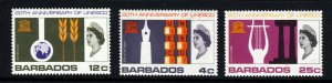 BARBADOS QE II 1967 UNESCO 20th. Anniversary Set SG 360 to SG 362 MNH
