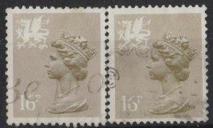0758) G.B. - Wales. 1986. Used. SG w43,w43a 17p Drab Type I. p14 &  15x14
