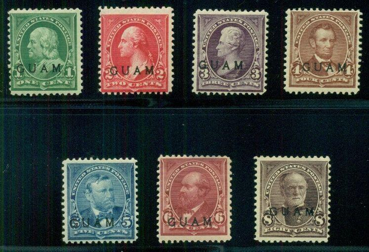 GUAM #1-7 1¢ - 8¢ complete lower vals of set, all og, hinged, F/VF, Scott $585.
