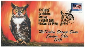 21-055, 2021, McKinley Stamp Show, Event Cover, Pictorial Postmark, Great Horned