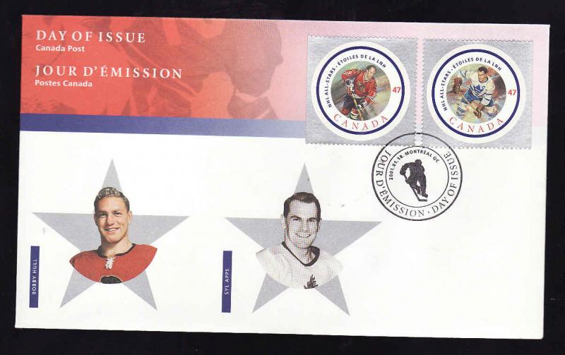 Canada-Sc#1885e-f-stamps on FDC-NHL All Stars-Bobby Hall-Syl Apps-2001-