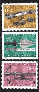 Liechtenstein. 1980. 751-53. Medieval weapons, crossbow. MNH.