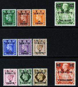 BRITISH OCCUPATION KG VI 1950 Overprinted B A SOMALIA SG S21 to SG S31 MINT
