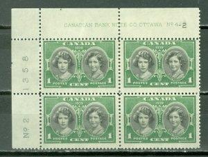 CANADA 1937 PRINCESS #246 UL PL4-2 CORNER BLK MNH(LIGHT GUM TONING) MNH $3.00