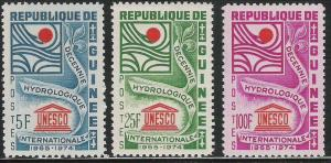 Guinea- Scott 433-435 Hydrological Decade/ Unesco- complete set of 3 MNH stamps