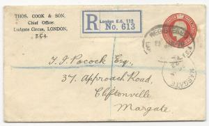 Great Britain H&G #45 Registered ADV Cover London January 25, 1922