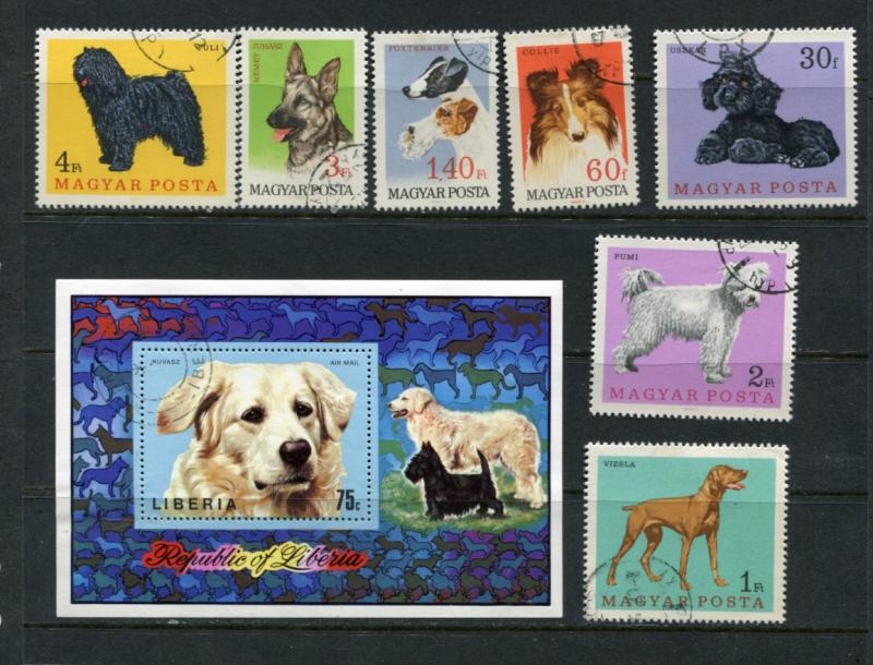 Liberia, Hungary Sheet+stamps Used Dogs  2298hs