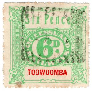 (I.B) Australia - Queensland Railways : Parcel Stamp 6d (Toowoomba)