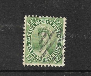 CANADA 1859  12 1/2c YELLOW GREEN  FU SG 40