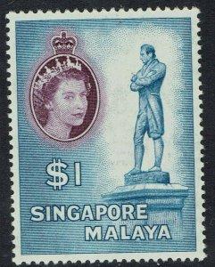SINGAPORE 1955 QEII STATUE $1 MNH **