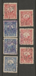 Costa Rica used Tourist Revenue stamps Collection- scarce 4-9