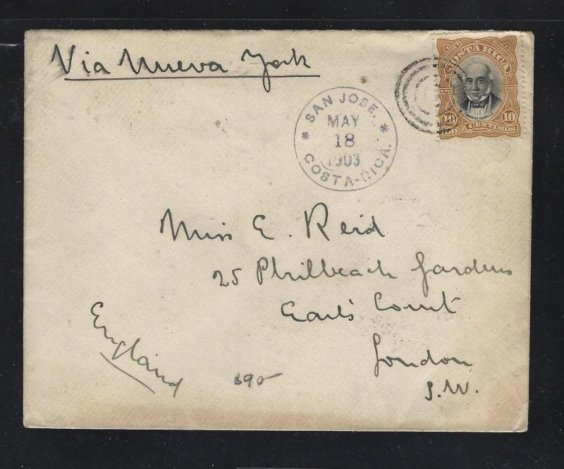 COSTA RICA  (PP2404B) 1903  10C COVER TO ENGLAND