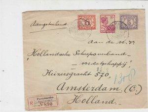 Suriname 1930 Paramaribo Registered Stamps Cover  ref 22345