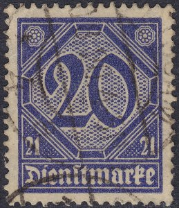 Stamp Germany Official Mi 019A Sc OL12 1920 Dienst Reich Prussia Number 21 Used