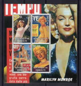 Djibouti 2003   Marilyn Monroe Early Pictures    Sheetlet (4)  Perforated  MNH