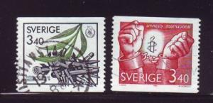 Sweden Sc1612-3 1986 Amnesty Peace Year stamps used