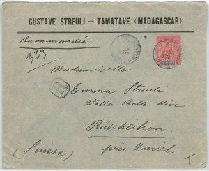 44974 - MADAGASCAR -  POSTAL HISTORY - COVER to SWITZERLAND 1911