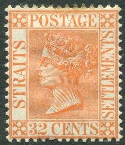 STRAITS SETTLEMENTS-1887 32c Orange-Vermilion Sg 70 MOUNTED MINT V42838