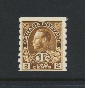 CANADA 1916, 2c BROWN COIL, WAR TAX DIE 1, VF LH Sc#MR7a SG#241 (SEE BELOW