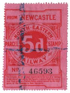 (I.B) North Eastern Railway : Parcel Stamp 5d (Newcastle)