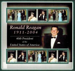 Sierra Leone MNH S/S Ronald Reagan 40tth U.S. President 6 Stamps