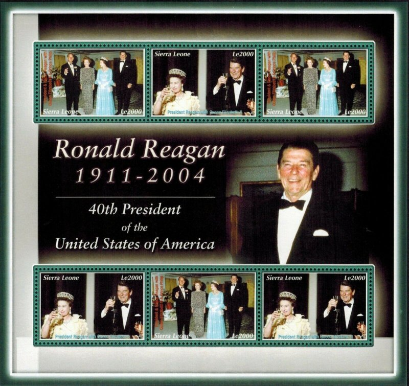 Sierra Leone MNH S/S Ronald Reagan 40th U.S. President 6 Stamps