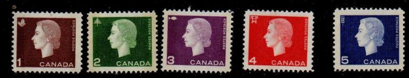 Canada Sc 401-05p 1963 QE II Winnipeg Tagged stamp set mint  NH