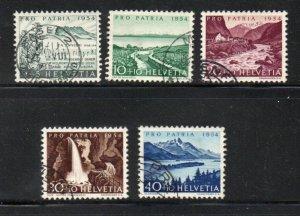 Switzerland Sc B232-36 1954 Views Pro Patria stamp set used