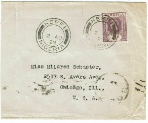 Nigeria 1928 Keffi cancel on cover to the U.S.