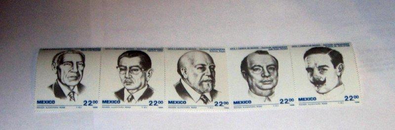 Mexico - 1397a, MNH Strip of 5 Set. Writers. SCV - $4.50