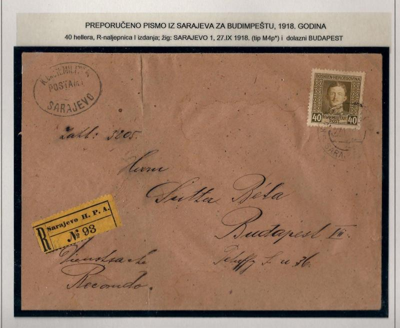 OLD AUSTRIA BOSNIA KARLO 40h REGISTERED LETTER ARRIVAL  CDS GREAT