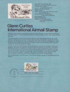 REDUCED!! 1980 GLENN CURTISS  AIRMAIL FDC SOUVENIR PAGE