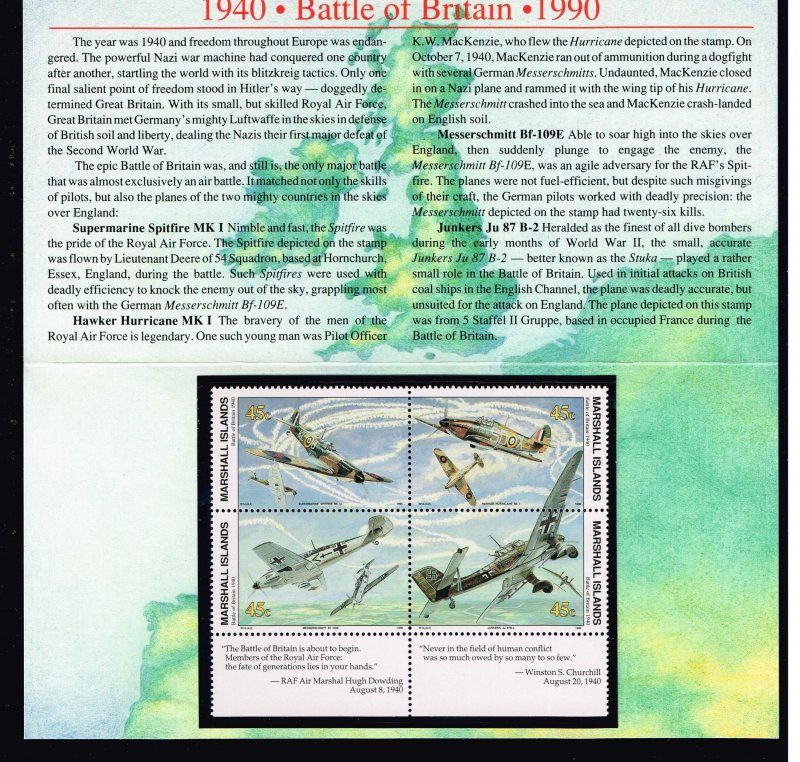 Marshall Islands MNH BLK OF 4 STAMPS WITH FOLDER