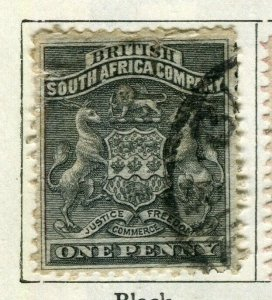RHODESIA; 1890 early South Africa Company issue used 1d. value