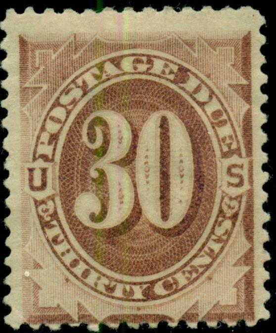 US #J6 30¢ brown, og, LH, F/VF, Scott $350.00