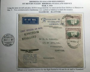 1934 Salisbury Rhodesia First Return Flight Airmail Cover To Blantyre Nyasaland