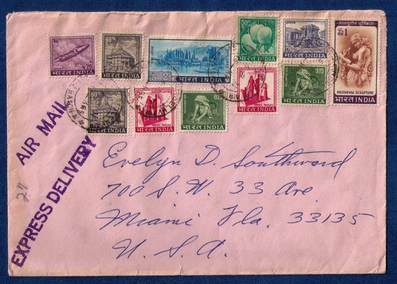 India Cover (1971) Sc 412,419 & Others Multi-Stamp Issue To Miami US (11) Stamps