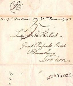 MS2626* GB Bristol Cover 1793 Distinctive Serpentine *BRISTOLL* Postmark Letter