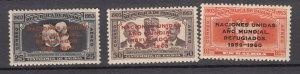 J27641 1960 panama set, mnh #c227-9 ovpt,s