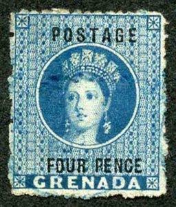 Grenada SG23 4d Blue Wmk Large Star Perf 14.5 Cat 8 pounds